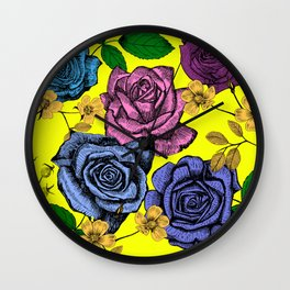 Lower East Side Roses in Yellow Wall Clock