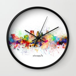 minneapolis skyline artistic Wall Clock