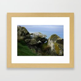 Lichen Covered Rocks in Front of the Blue Horizon Framed Art Print