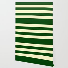 Dark Emerald Green and Cream Large Stripes Wallpaper