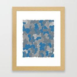 Blue Wall Etching Framed Art Print