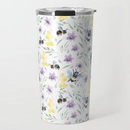 Watercolor Bees and florals | Save the bees Travel Mug
