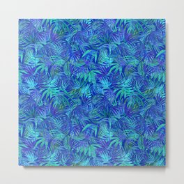 Palm watercolor tropical blue night Metal Print