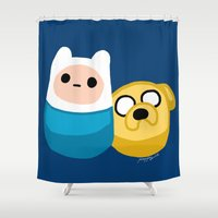 finn and jake Shower Curtains featuring  Finn and Jake by Mayying