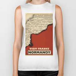 Normandy France Vintage travel print. Biker Tank