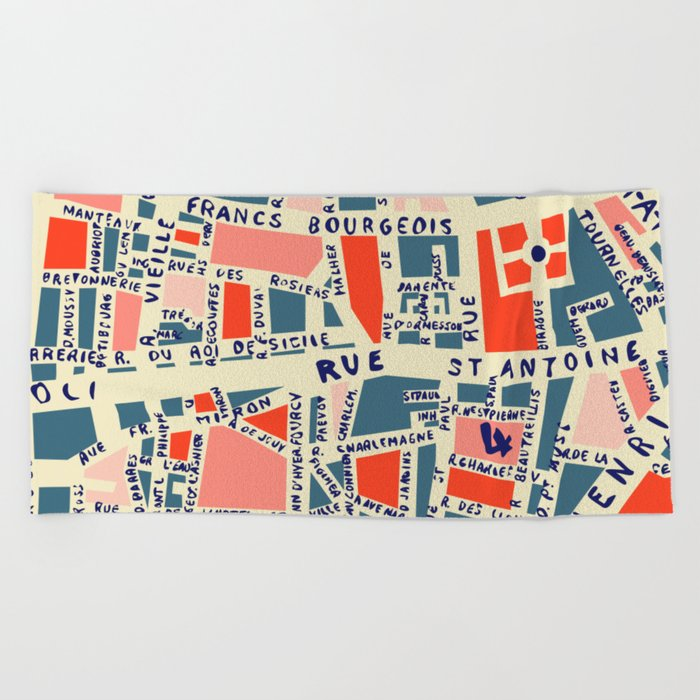 paris map blue Beach Towel