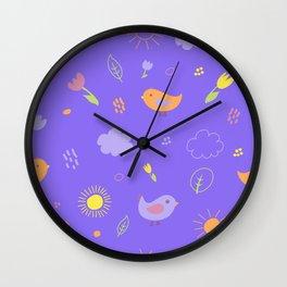 Sweet Birds Pattern Wall Clock