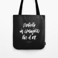 creativity Tote Bags featuring Creativity by Caroline Sleeper