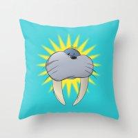 walrus Throw Pillows featuring Walrus by quietsight