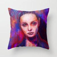 cyarin Throw Pillows featuring Sad eyes by Gyossaith