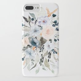 Loose Blue and Peach Floral Watercolor Bouquet  iPhone Case