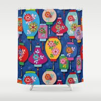 lantern Shower Curtains featuring Chinese lantern by Helene Michau