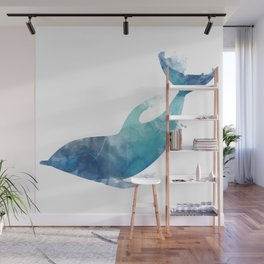 Watercolor playing Dolphin Wall Mural