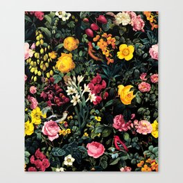 Floral and Birds Pattern Canvas Print