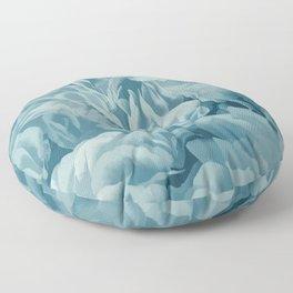 Soft Baby Blue Petal Ruffles Abstract Floor Pillow