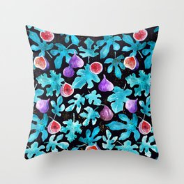 Midnight Sweetness. Dark Botanical Figs and Leaves Throw Pillow
