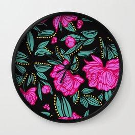 Fuscia Floral Wall Clock