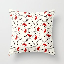 Strange Red Flowers Pattern Throw Pillow