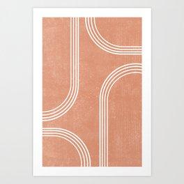 Mid Century Modern 2 - Geometrical Abstract - Minimal Print - Terracotta Abstract - Burnt Sienna Art Print