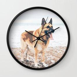 Long Tongue German Shepherd Dog On The Beach Wall Clock
