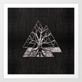 Valknut Symbol and Tree of life  -Yggdrasil Art Print