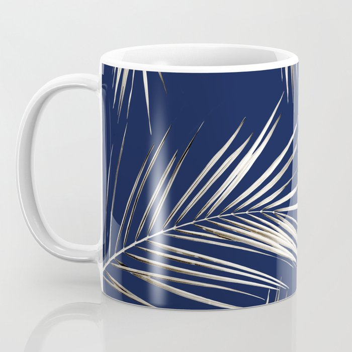 White Gold Palm Leaves on Navy Blue Coffee Mug