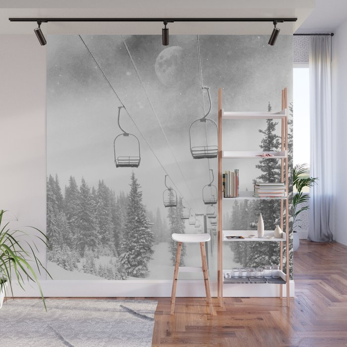 Chairlift Moon Break // Riding the Mountain at Copper Colorado Luna Sky Peeking Foggy Clouds Wall Mural