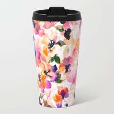 Chic Floral Pattern Pink Orange Pastel Watercolor Travel Mug