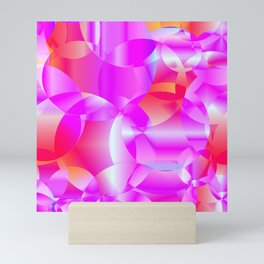 Abstract soap of cosmic transparent purple circles and pink bubbles on a languid background. Mini Art Print