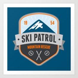 Ski Patrol Solid Blue Art Print