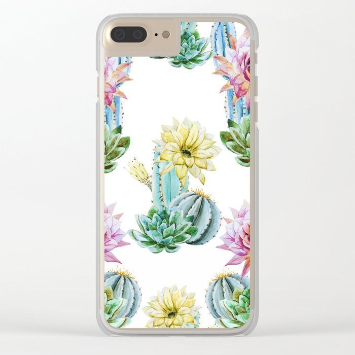 Cactus Pattern 06 Clear iPhone Case