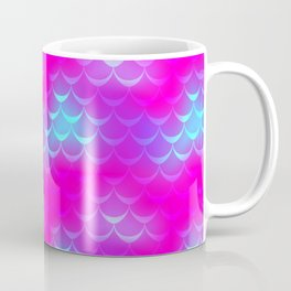 Pink and Blue Mermaid Tail Abstraction. Magic Fish Scale Pattern Coffee Mug