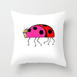 The Queen Ladybug in her Stilettos and Tiara Throw Pillow