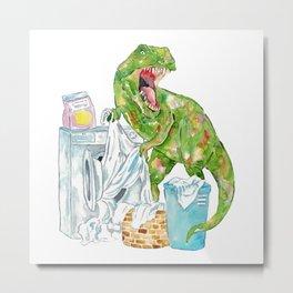 T-rex laundry dinosaur painting watercolour Metal Print