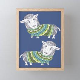 Sheep wearing Fair Isle knitted sweater Framed Mini Art Print