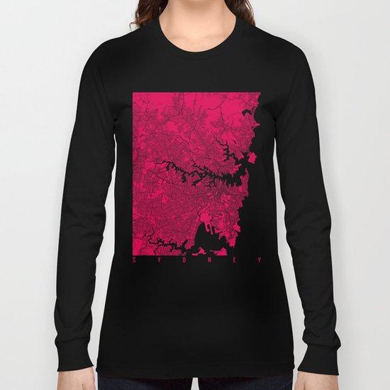 Sydney map raspberry Long Sleeve T-shirt