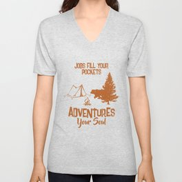 Camping Tshirt for your camping holiday Unisex V-Neck