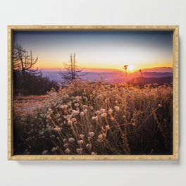 Sunset from mountaintop in Idyllwild, CA Serving Tray