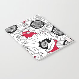 Black and White Poppies in a Red Vase Notebook
