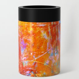 Abstract with Circle in Gold, Red, and Blue Can Cooler