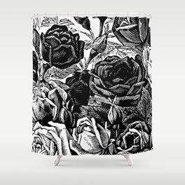 Beautiful Black&White Roses Shower Curtain
