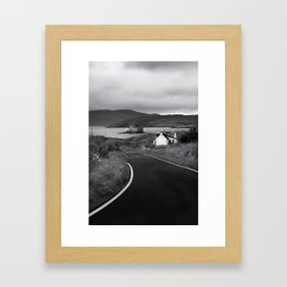 Road To Castelbay With Kisimul Castle and Bay. Isle Of Barra, Outer Hebrides, Scotland. Framed Art Print