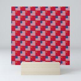Mix of flag: usa and China Mini Art Print