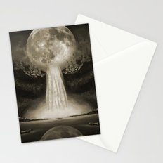 Waterfall Moon Sepia Stationery Cards