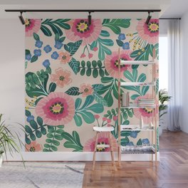 Colorful Tropical Vintage Flowers Abstract Wall Mural