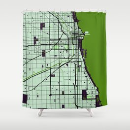 Chicago Street Map // Green Theme Shower Curtain