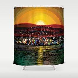 Angel Island Sunset (Square) Shower Curtain