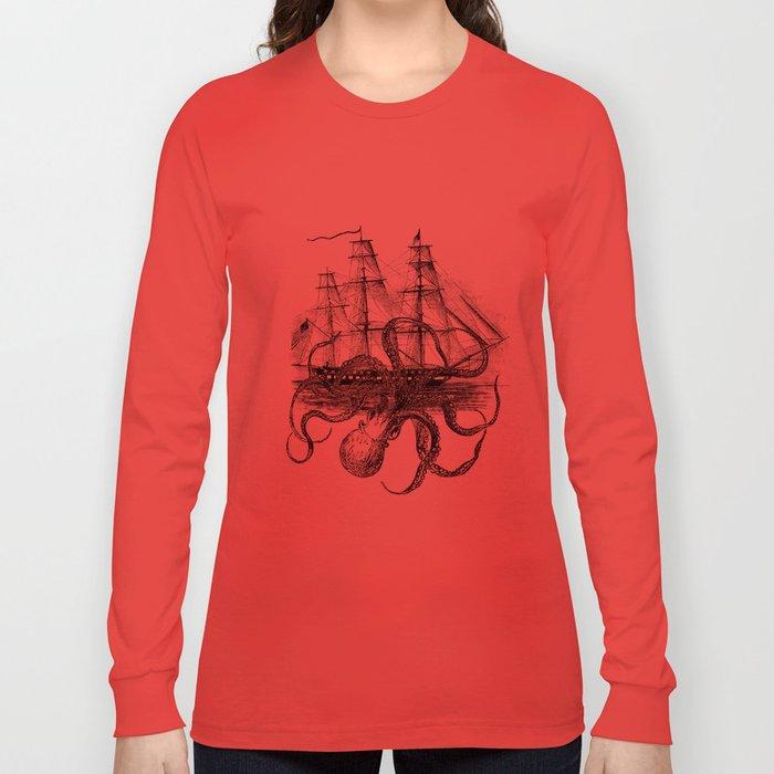 Octopus Kraken attacking Ship Antique Almanac Paper Long Sleeve T-shirt
