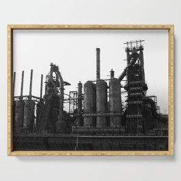 Bethlehem Steel Blast Furnaces in black and white 6 Serving Tray
