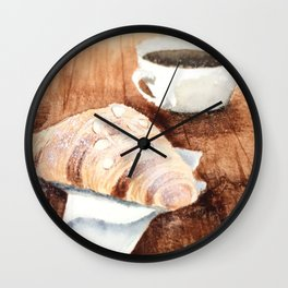 Croissant and Coffee Wall Clock